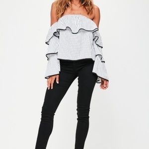 Missguided White Stripe Bardot Layered Sleeve